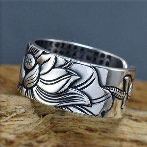Heart Sutra lotus adjustable silver ring